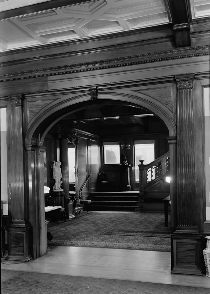 staircase in the interior of whittier mansion