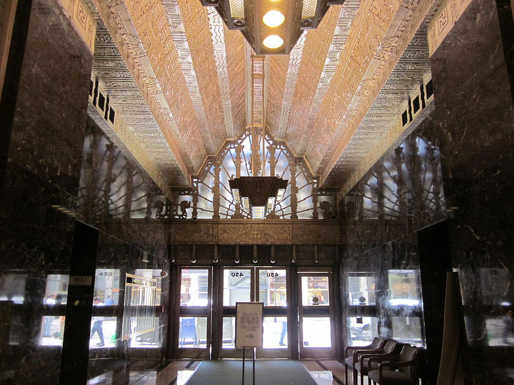 Photograph of the lobby of the Sutter Building, with its haunted mayan designs and spooky history.