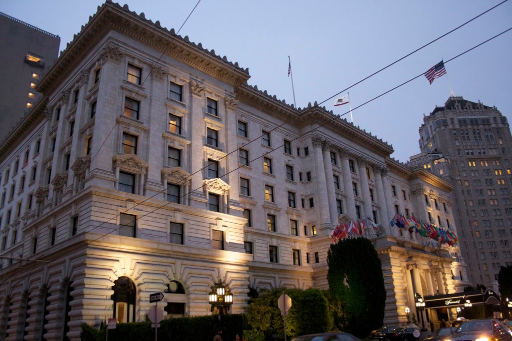 The twighlight shot of the illuminated facade of the Fairmont hotel, San Francisco