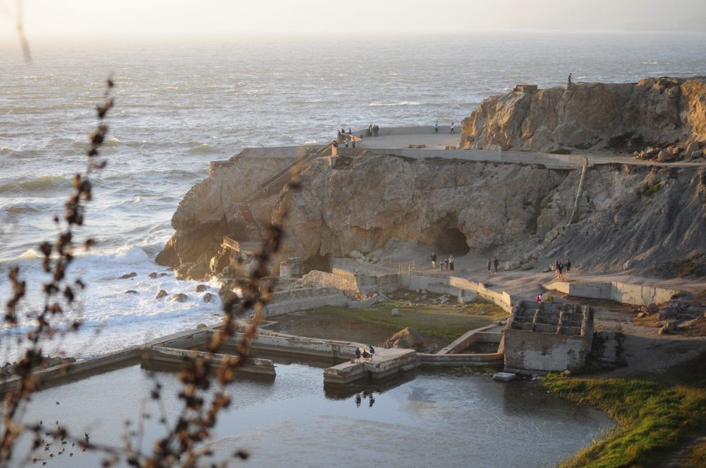 photo shows what is left of the sutra baths today, which is nothing more than broken stone stairs and concrete slabs